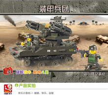 SLUBAN plastic toy gift building block Tor Anti aircraft missile Armored car 1pc
