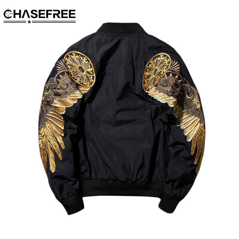 Autumn Winter Military MA1 Men's Bomber Jacket Embroidered Gold Wings Outwear Male Fashion Casual Flight Flying  Jacket Coat