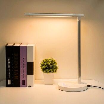 Lampu LED Meja Kantor Bisnis Lampu Touch Kontrol Mata Lampu Perlindungan Dimmer USB Charge Lampu Meja LED 10W 5 warna Suhu