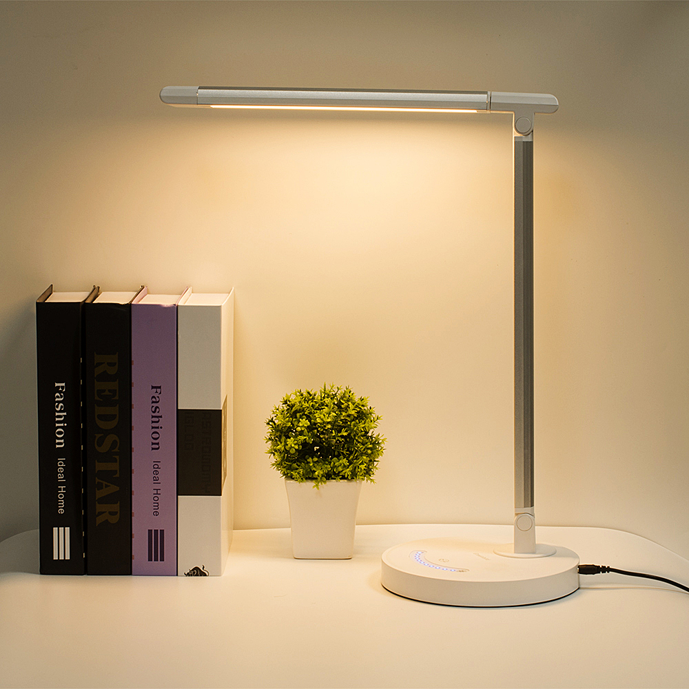 Led Desk Lamp Business Office Light Touch Control Eye Protection Dimmer Usb Charge Table 10w 5 Colors Temperature