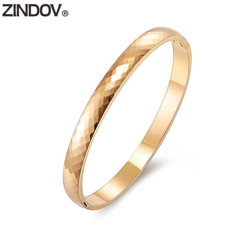ZINDOV Acier Inoxydable Bracelets Bracelets Pour Femmes Rose Or Argent Or Bracelet À Facettes 6mm simple Mode Bijoux Femmes Chaude