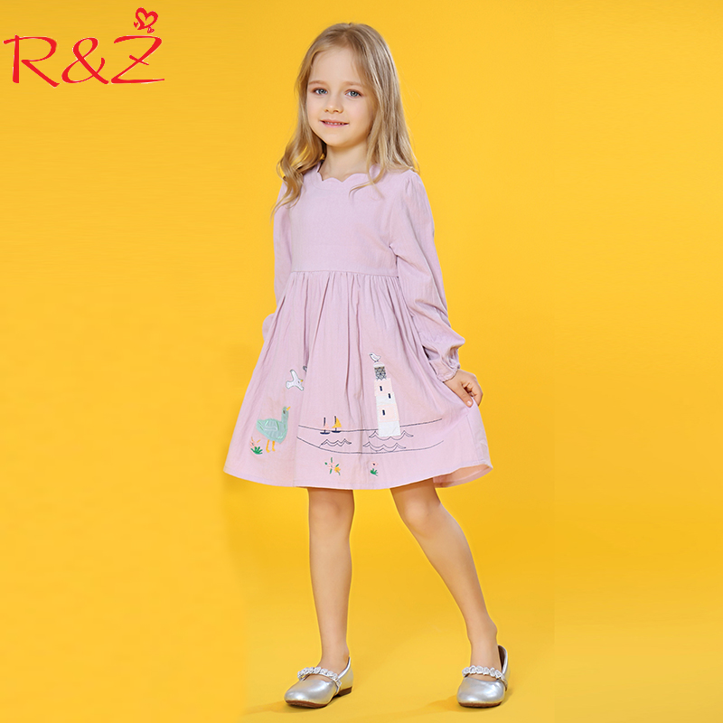 R&Z Baby Girls Dress 2018 Spring New Cotton Long-sleeved O-neck European American Style Cartoon Dresses for Girls Kids Clothes little maven brand new girls autumn spring long sleeved o neck fashion rabbits printed cotton cute casual dresses