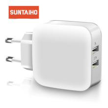 Suntaiho Smart Travel Dual USB Charger Adapter Wall Portable Mobile Phone Charger EU Plug For iPhone/Samsung/Xiaomi /iPad/Huawei
