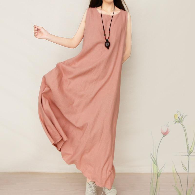 2018 جديد وصول طويل القطن الكتان - ملابس نسائية
