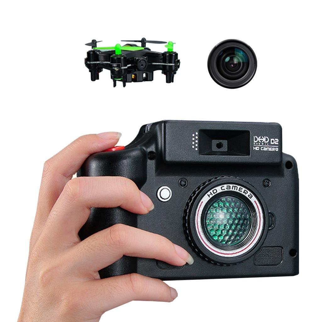 DHD D2 Mini RC Quadcopter with HD Camera and Screen on Remote,LED Portable Nano Aircraft Rechargeable + Headless Mode RC UFO