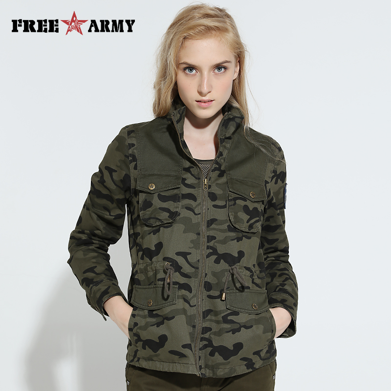 Brand New Autumn Jacket Outerwear Womens Casual Camouflage Jacket Coat Hooded Plus Size Military Coats And Jackets Wgs-8611C