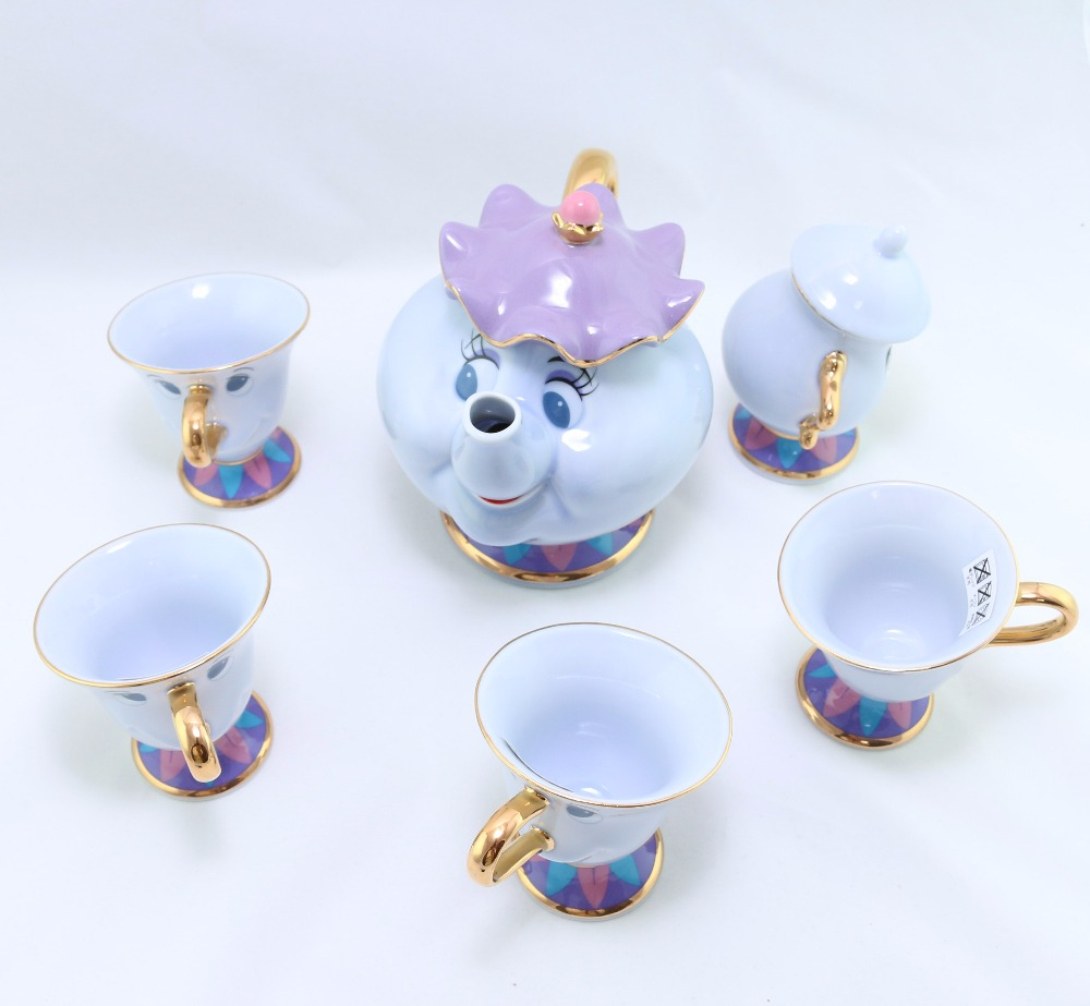 Genuine Beauty And The Beast Tea Set Mrs Potts Chip Teapot Cup Set Sugar Bowl Pot Mug [ 1 Pot + 4 Cups+ 1 Sugar Bowl ] Xmas Gift