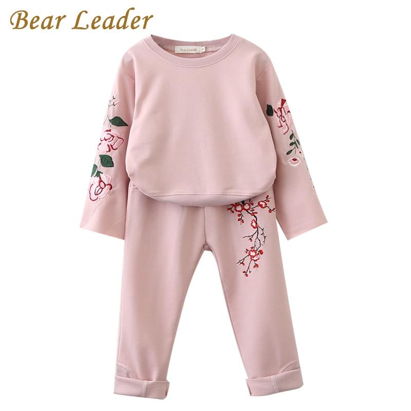 الدب زعيم الفتيات الملابس مجموعات 2018 autunm مجموعات جديدة ملابس الأطفال الزهور التطريز بلوزات + سروال البدلة لمدة 3-7 سنوات