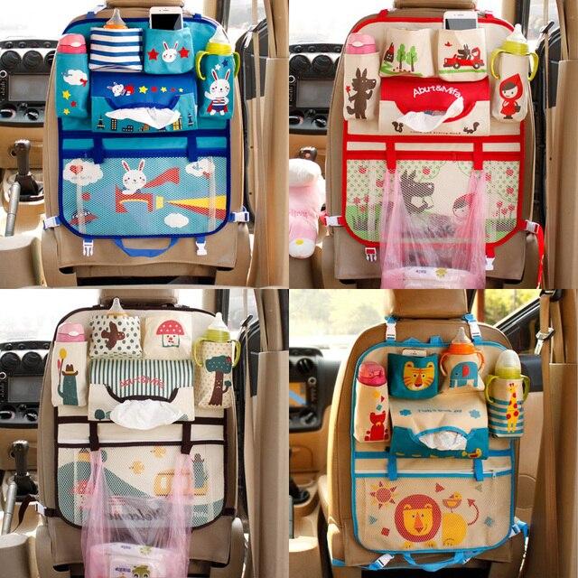 Cute Cartoon Lion Car Organizer Seat Back Storage Bag Hanging Stowing Tidying Baby Kids Travel Universal Auto Multi pocket Bag
