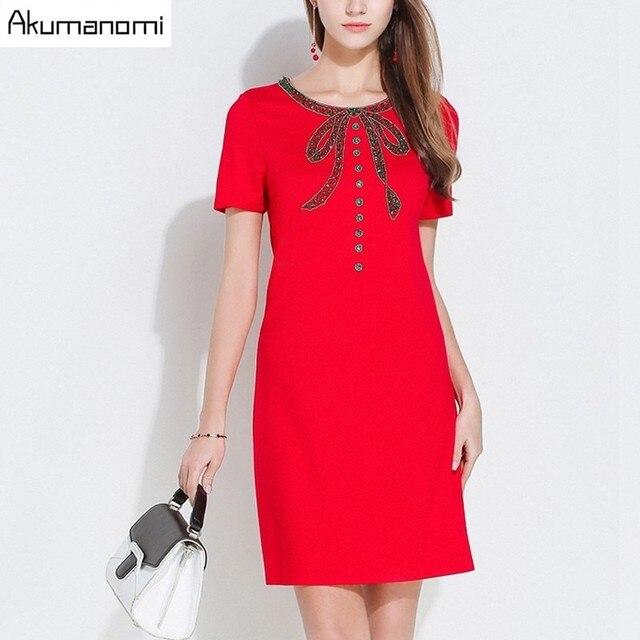 Dress Loose Short Sleeves Bodycon Round Collar Bowknot Adornment Diamonds  Cotton Summer Dress Plus Size 5XL 4XL XXXL XXL XL L M 174eedbcf146