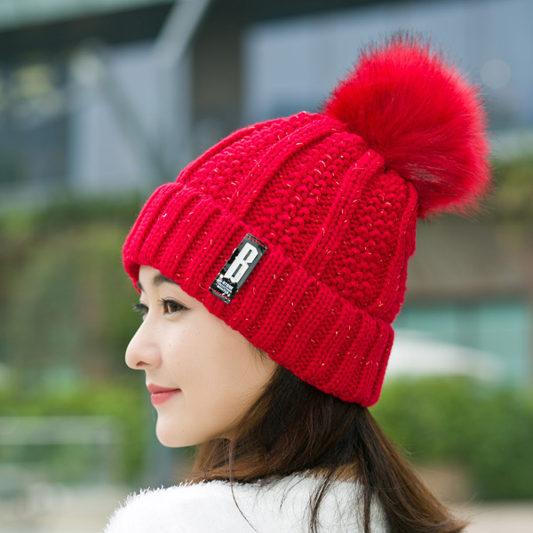 2017 New add velvet Winter Hats for Women Fashion Warm Hats Knitted Beanies Girls Cap Brand Thick women's hats caps 2016 new beautiful colorful ball warm winter beanies women caps casual sweet knitted hats for women outdoor travel free shipping