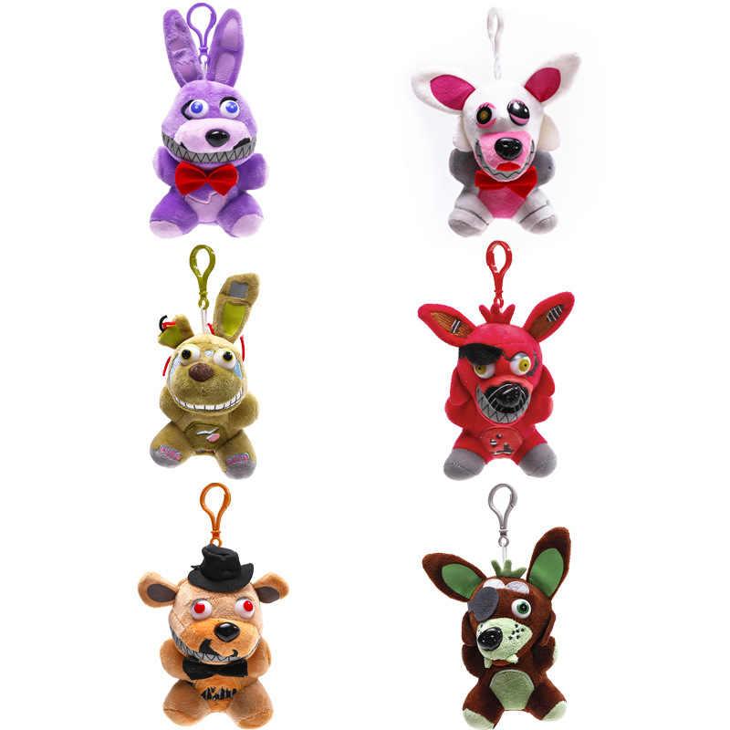 15-18cm cinco noites no freddy brinquedos de pelúcia fnaf freddy urso pesadelo springtrap mangle foxy bonnie chaveiro pingente boneca presente