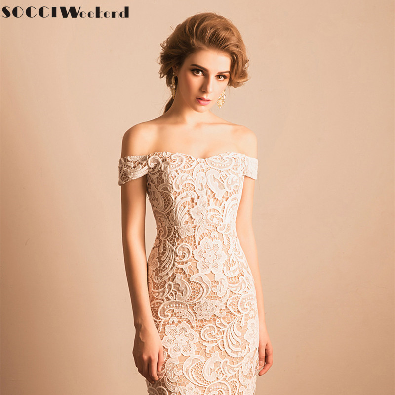Cocktail Dress 2019 SOCCI Weekend Elegant Lace Little White Party Dresses Women Sexy Off The Shoulder With Beige Lining Robe De
