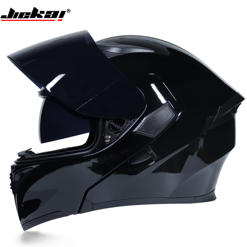 High quality full face Men flip up motorcycle helmet Double shading with lens modular moto racing helmets DOT homologated JIEKAI red green lines double lens motorcycle crash helmet high quality flip up electric motorbike full face motorcycle helmet