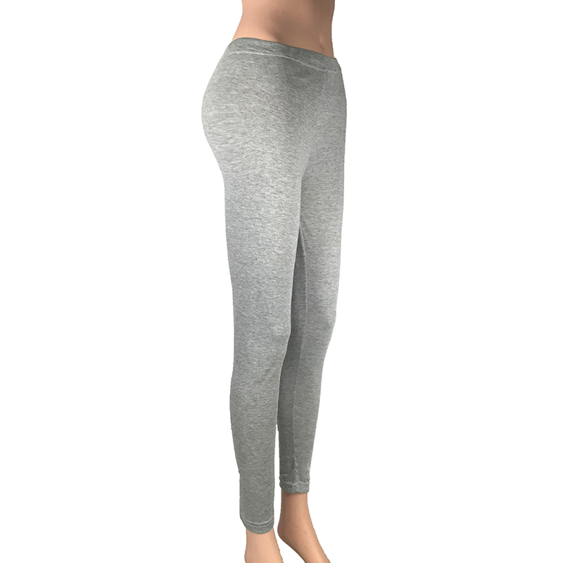 Women Pure Color Cotton Leggings Sexy Hip Push Up Pants Full Length Gray Black Leggings Lady Leggins