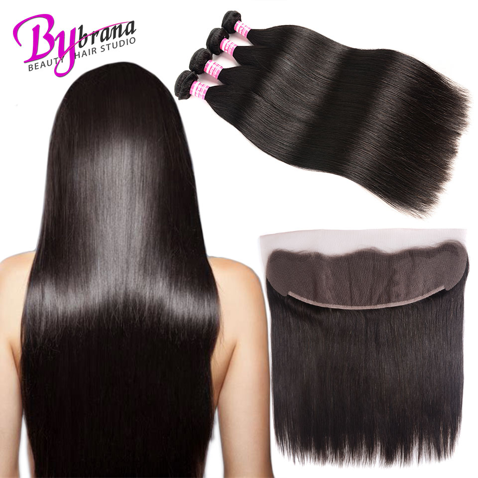 Indian Straight Hair Bundles With Frontal Natural Color Human Hair 18Inches Lace Frontal With Straight Bundles 22 24 26 Bybrana (3)