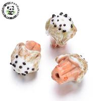 Ice Cream Handmade Coral Lampwork Beads for jewelry making Accessories 19x15~16x14~16mm, Hole: 2mm; about 12pcs/box F70