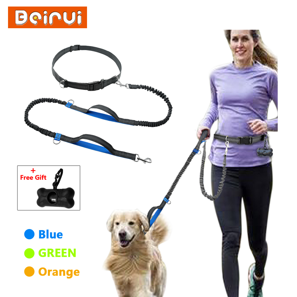 Nylon Hands Free Bungee Dog Leash Reflective Adjustable Dual Handle Pet Leads with Free Garbage Bag For Running Walking Jogging
