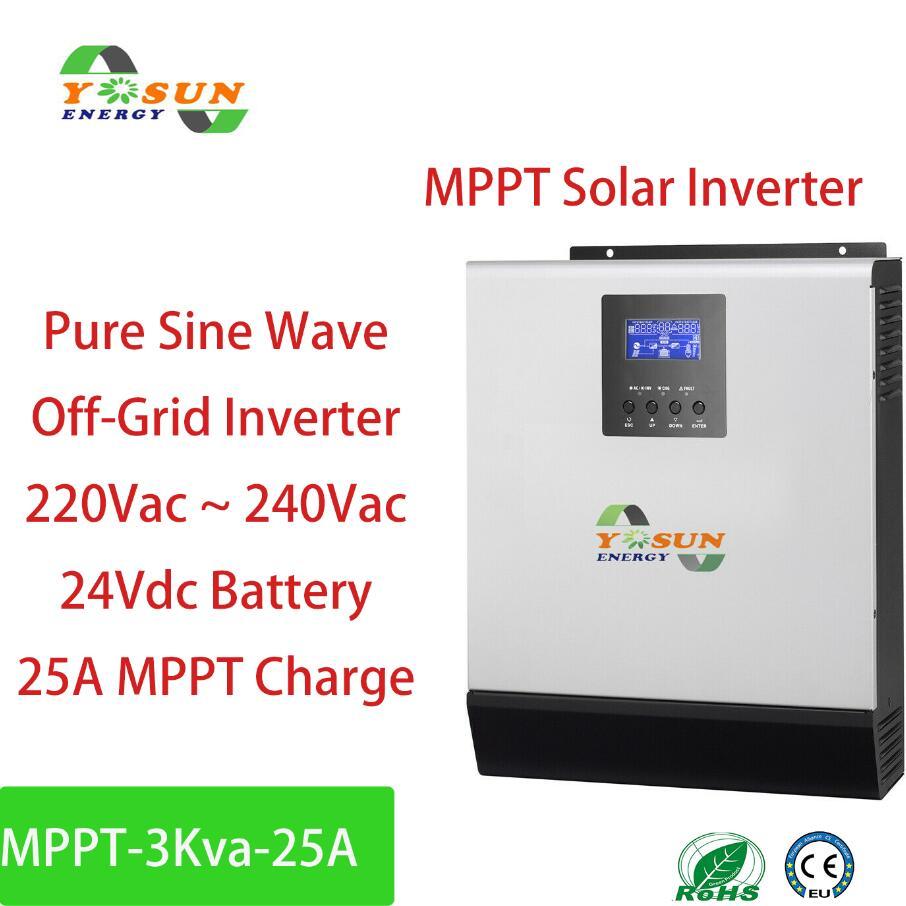 Falownik solarny 3Kva MPPT 2400W Off-falownik sieciowy czysta fala sinusoidalna przetwornica wbudowany 25A kontroler MPPT ładowarka ac 24Vdc baterii