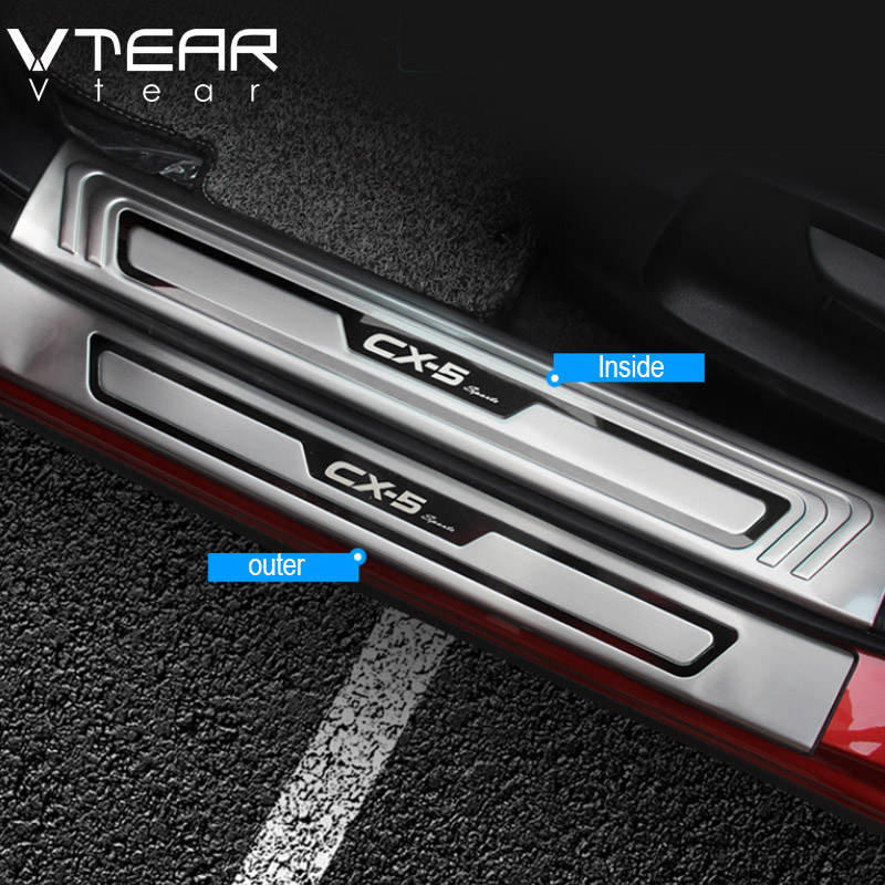 Vtear For Mazda CX 5 CX5 Accessories Door Sill Trim Cover stainless steel Protector Pedal Scuff