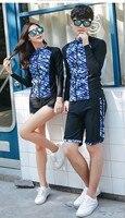 Men Two Piece Lycra Surf Rashguard Swimsuit Women Outdoor Yoga Shirts+Trunks Bathing Nylon Running Triathion Clothing Beach Wear