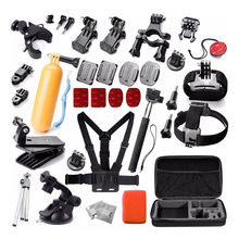 Equipment Set Package for Gopro Hero Digicam four three+ three 2 Bag Monopod Head Chest Strap