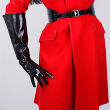 Fashion Patent Leather Wide Sleeves Simulation Gloves Mirror Bright Black 50cm Men And Women TB87