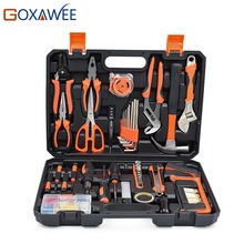 GOXAWEE 120pcs Hand Tool Set General Household Hand Tool Kit with Plastic Toolbox Hammer Plier Screwdriver Knife Wrench Saw