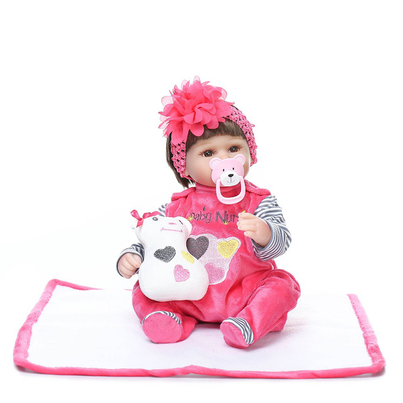 New 42CM Silicone Vinyl Doll Reborn Baby Dolls Girl Toys Soft Body Lifelike Newborn Babies Bonecas Toy Best Gift For Kid Child new design silicone reborn dolls 52cm lifelike baby reborn newborn toys for children gift bonecas
