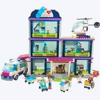 LEPIN 01039 Heart lake Hospital Construction Toy Friends Girls Series 932pcs Building Blocks Compatible 41318 Walkie Talkie