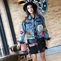 BringBring 2017 Spring New Women Sequins Flower And Pearl beading Jeans Jackets Long Sleeve Harajuku Hole Denim Jacket 1809