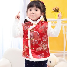 2019 Girls Chinese Style Jackets Cotton Warm Kids Vest For Girl Waistcoat Children Outerwear For Kids Clothing цена и фото