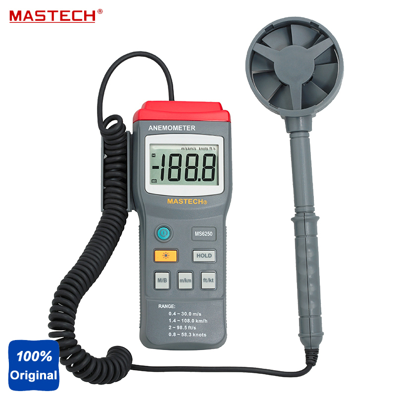 Digital Anemometer Air Velocity Tester Wind Speed Meter Range 77.7Knots 40M/S 131.2Ft/S 144Km/H MS6250 eam02 lcd backlight bside digital anemometer air velocity volume wind speed area meter gauge tester meter