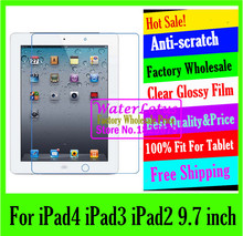 Clear Glossy screen protector Computer projector notebook protective film plate laptop For iPad4 iPad3 iPad2 iPad 2 3 4 9.7 inch(China (Mainland))