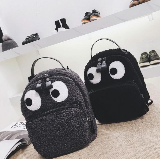 Women Fabric Women Backpack Fluffy eyes Shoulder Bag Small Rucksack Women  Shopping Bags cute Mochila feminine 7281de26c2