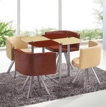 Modern Coffee Table Square Dining Table Business Negotiating Table Sales Office Reception Desk With 4Pcs Chairs