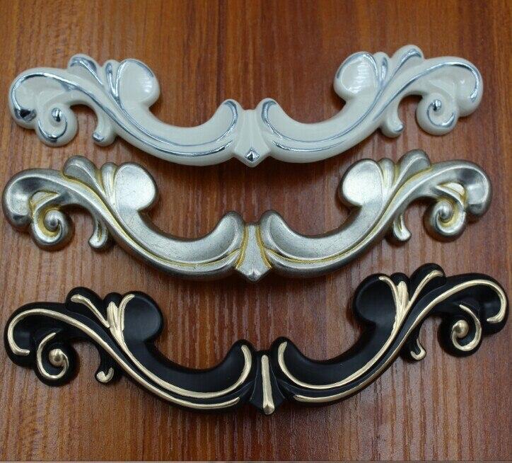 3 8 Kitchen Cabinet Pulls Antique Silver Dresser Handles Black White Zinc Alloy Wardrobe Door Furniture