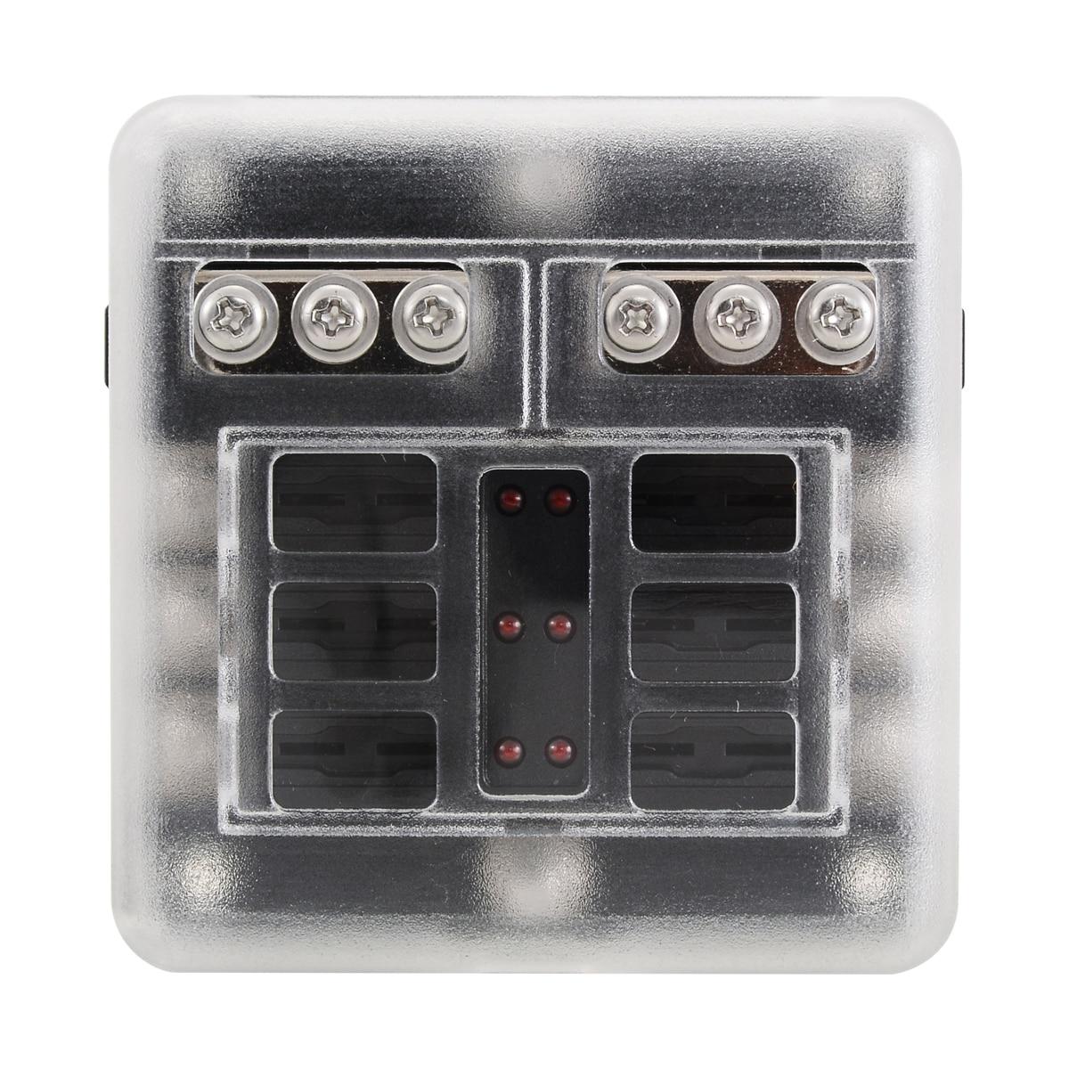 12V 24V Plastic Cover Fuse Box Holder 6 Way Blade Fuse Block Case With LED Indicator Display for Car Truck Marine Bus RV Van