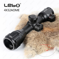 LEBO 4X32 AOME Hunting Riflescope Red Green Mil Dot Fully Multi Coated Optical Sights Compact Tactical