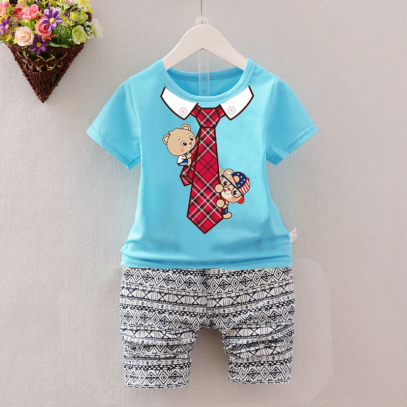 Children Summer clothes sets kids Cute patterns printed clothing suit boys t-shirt+pants 2pcs/set  wear baby boy clothes 2017 brand summer kids clothes sets t shirt pants suit clothing set star printed clothes newborn sport suits