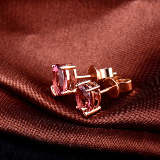 New Oval 5x7mm Solid 18K Rose Gold Natural Pink Tourmaline Wedding Earring Beautiful Jewelry for Girl  WE033