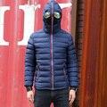 Homens Parka inverno Casaco Quente Casacos Com Capuz Acolchoado 2016 Nova Marca Elegante Jaqueta Com Óculos Casaco Corta-vento Hombre 970