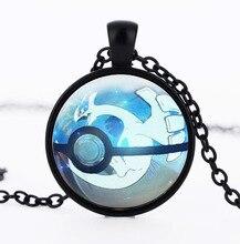 2016 European and American anime peripheral pokemon Lodge the Lugia pokemon Time Glass Necklace