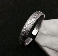 Одноцветное чистого серебра 990 Винтаж лотоса манжеты браслет для Для женщин гравировкой буддийской сутры ручной работы стильные тонкие Сер...