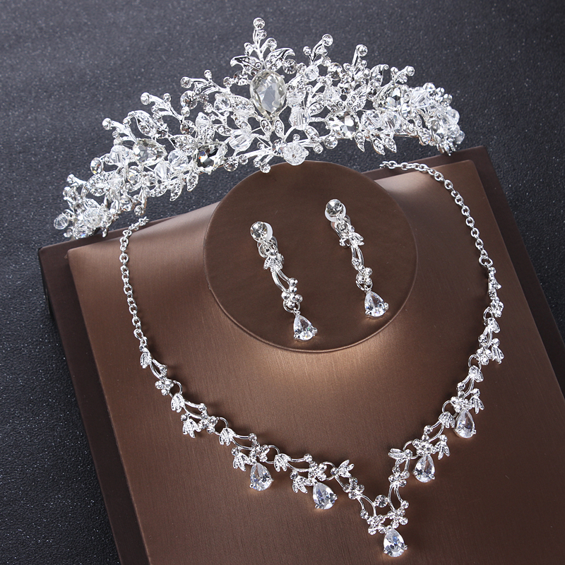 Bridal Tiara Set Silver Rhinestone Necklace And Earring Jewelry Set For Prom Party