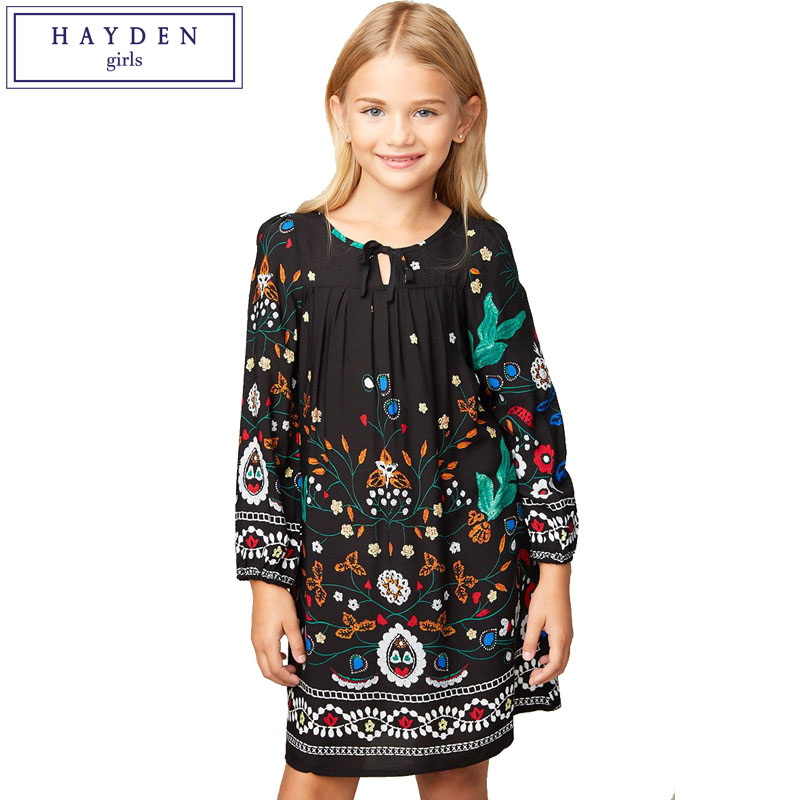 HAYDEN Girls Floral Print Dress Kids Long Sleeve Black Dress Teenagers Boho Style Peasant Dresses Size 7 to 14 Years Old hayden girls boho ethnic dress designs teenage girls national embroidered dresses flare sleeve loose fit dress for 7 to 14 years