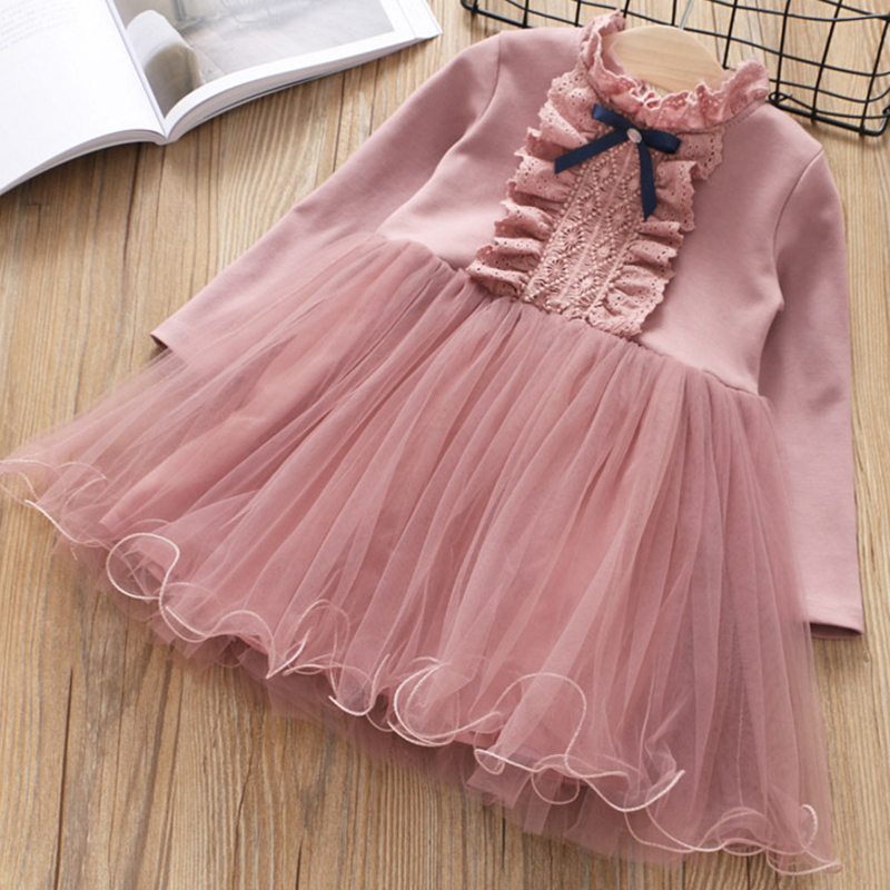 New Floral Girls Dresses O-neck A-line Dresses Girl Long Sleeve Dress For Girls 2018 Brand Princess Dress Baby Kids Clothes red blue kids dresses for girls long sleeve princess dress girls clothes flower bow decortion baby infant girl dress cheep price