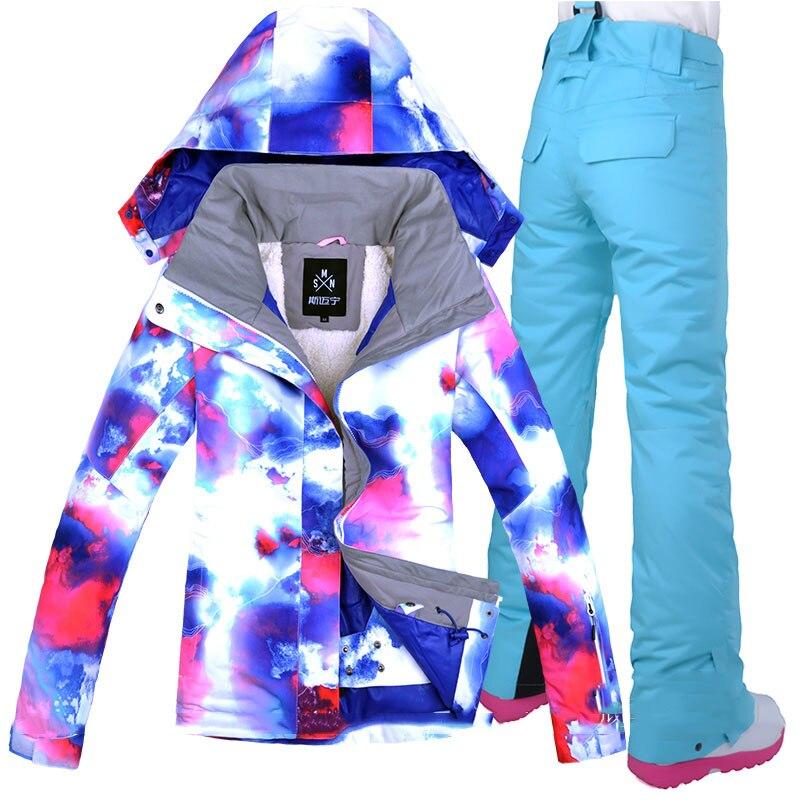 Livraison gratuite femmes hiver extérieur imperméable windrpoof ski costume ensemble ski veste et pantalon ski femmes neige sport veste
