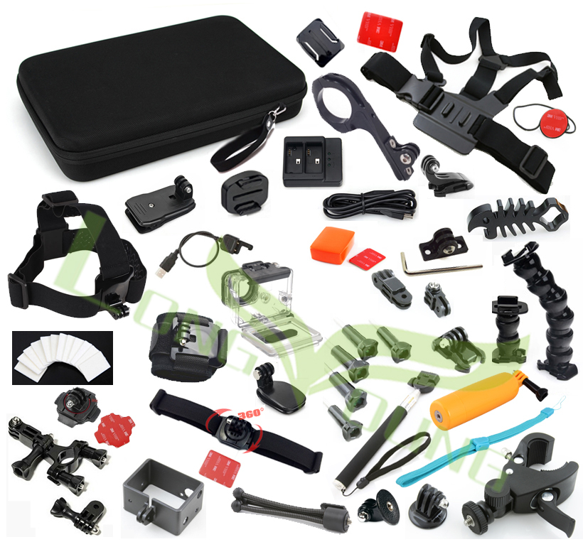 Ms. L. Meilyadigital Go pro kit d'accessoires pour GoPro Hero4 3 3 + go pro sjcam mallette de rangement tête monopode Ski Surf Mount