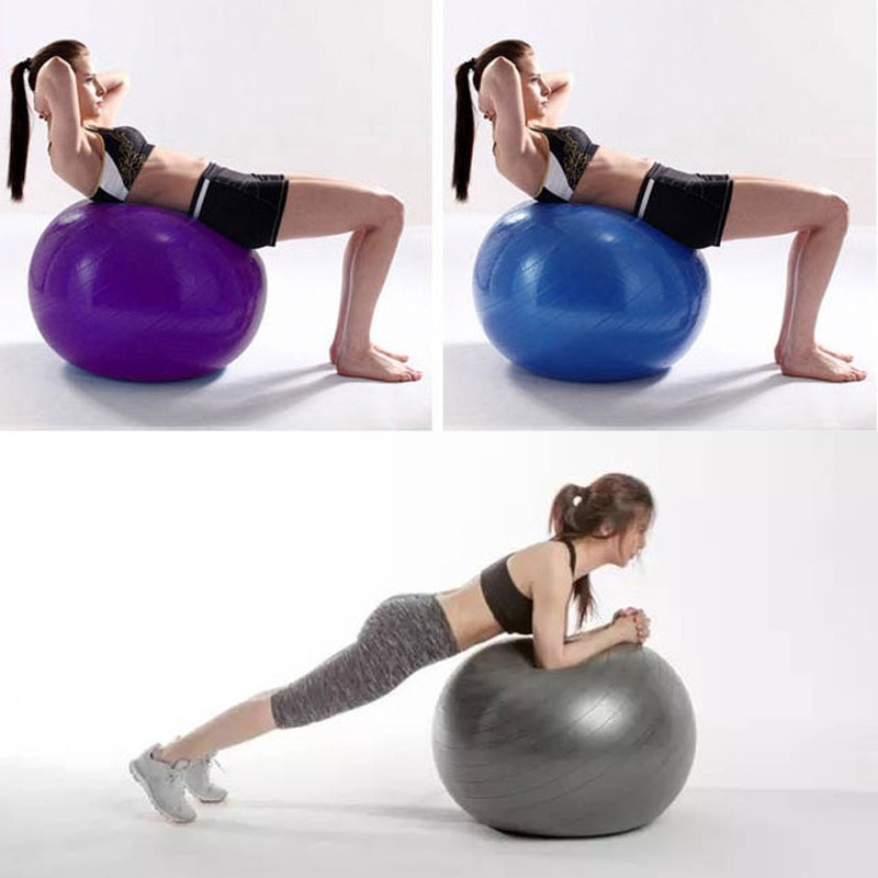 55CM PVC Unisex Yoga Balls for Fitness Brand Yoga Women Gym Fitness Balls Pilates Balls Explosion proof balancer ball Pump Air in Yoga Balls from Sports Entertainment